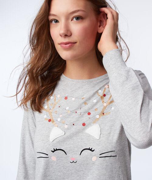 Camiseta manga larga estampado gato