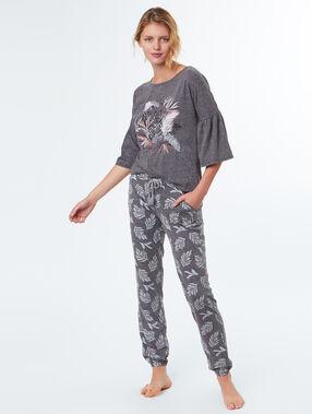 Pantalón estampado palmeras c.gris.