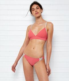 Braguita bikini cordones cruzados coral.