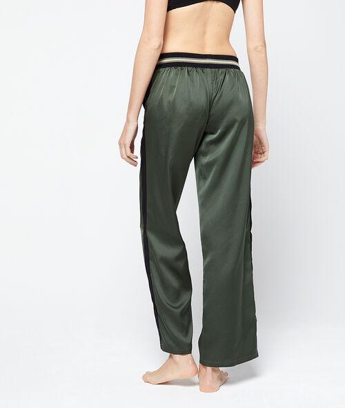 Pantalón de satén franjas contrastadas