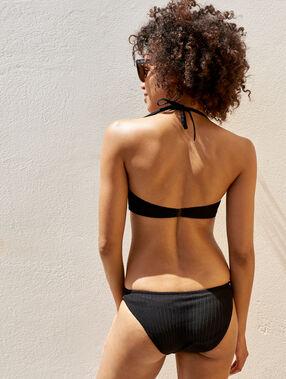 Braguita bikini tejido relieve negro.