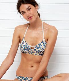 Sujetador bikini triangular estampado imp blanco.