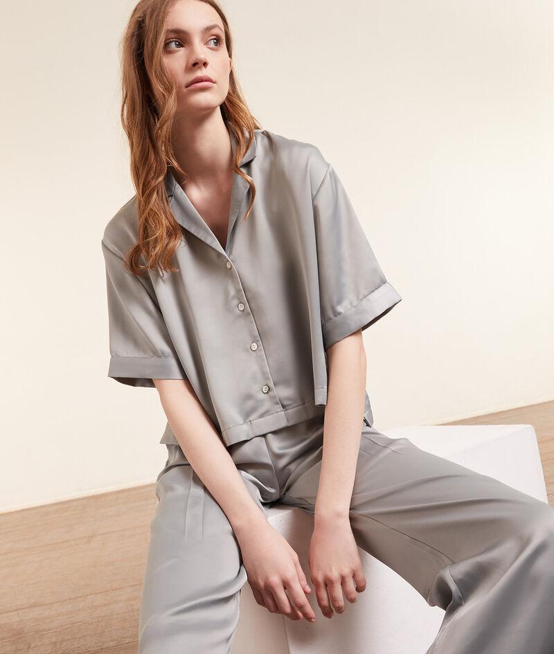 Camisa pijama satén, manga corta;${refinementColor}