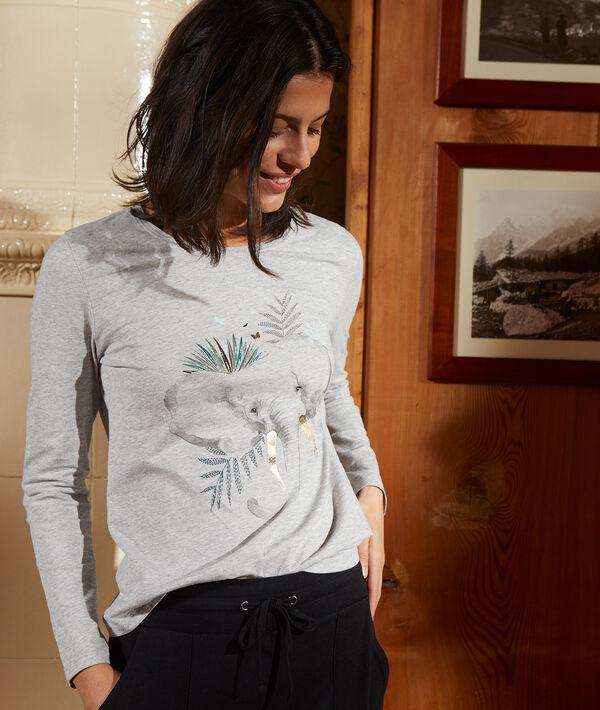 Camiseta elefante manga larga de algodón