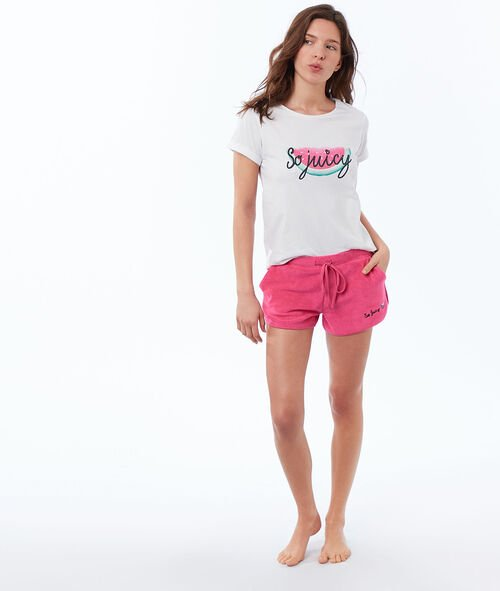 Pantalón corto tejido esponjoso
