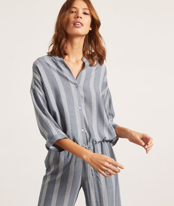 Camisa pijama estampado de rayas;${refinementColor}