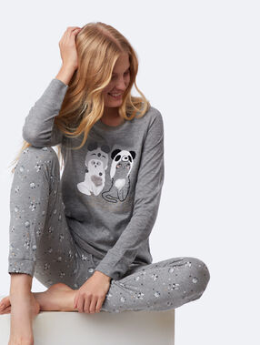 Camiseta manga larga estampado de gatos antracita.