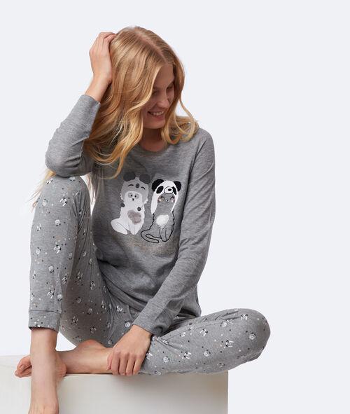Camiseta manga larga estampado de gatos