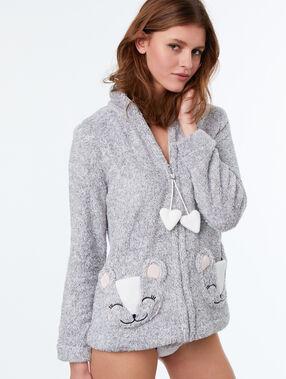 Chaqueta tejido peluche oso c.gris.