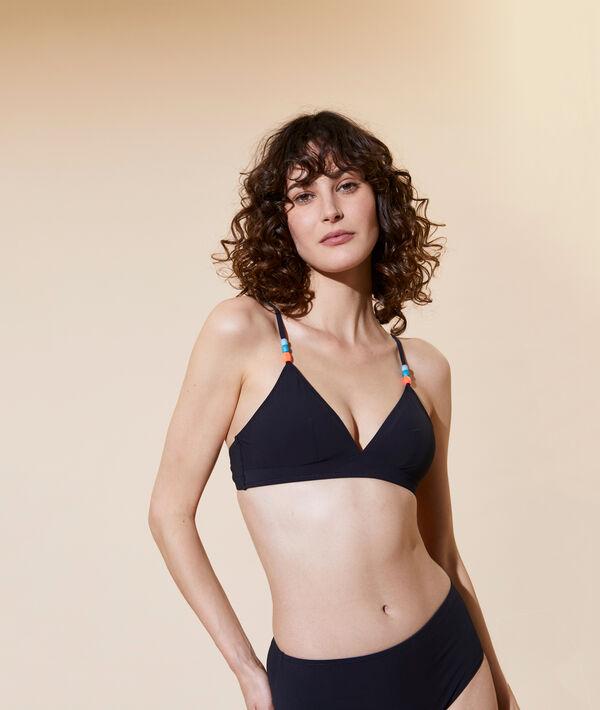 Sujetador bikini triangular liso, copas extraíbles;${refinementColor}