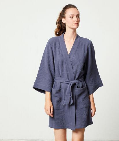 Bata tipo kimono de algodón;${refinementColor}