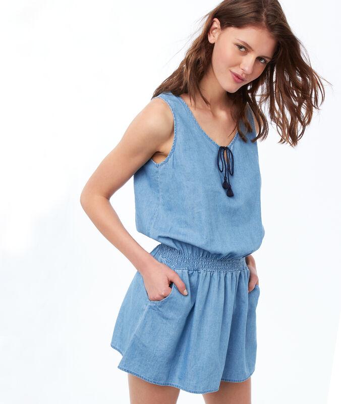 Camisón ajustado bolsillos laterales azul.