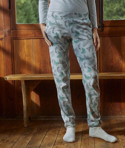 Pantalón de algodón estampado tigres
