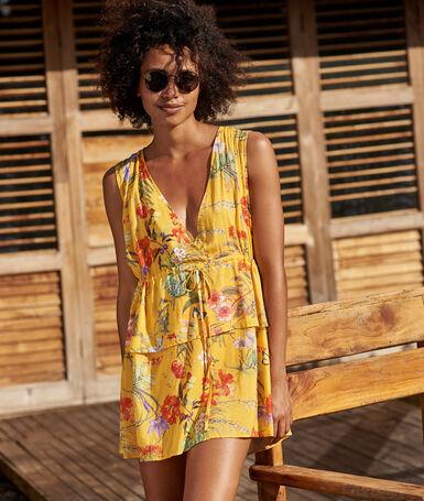 Vestido estampado floral escote en v amarillo.