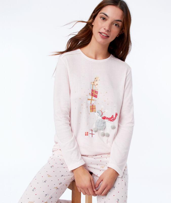 Camiseta manga larga motivos navideños rosa.