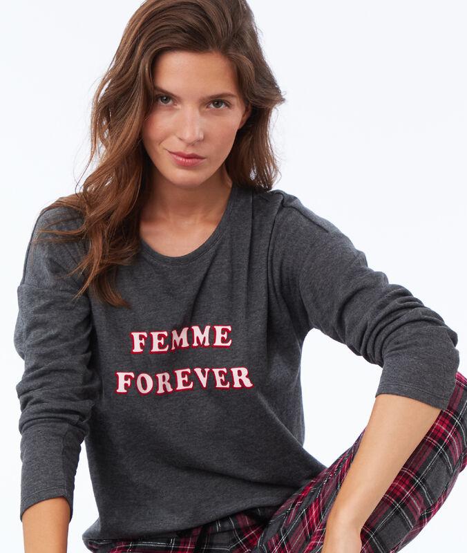 Camiseta con mensaje antracita.