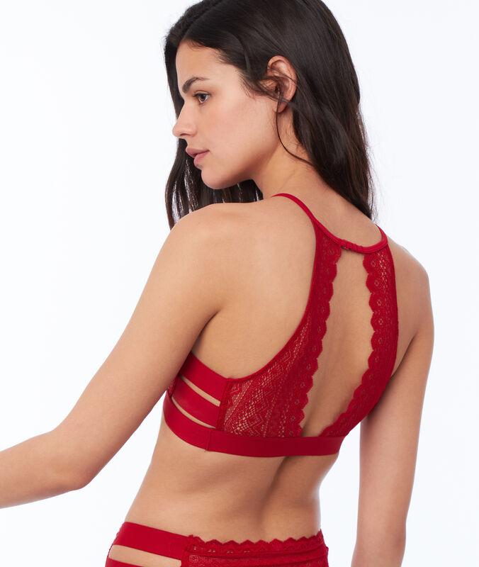 Bralette encaje con tiras laterales  rojo.