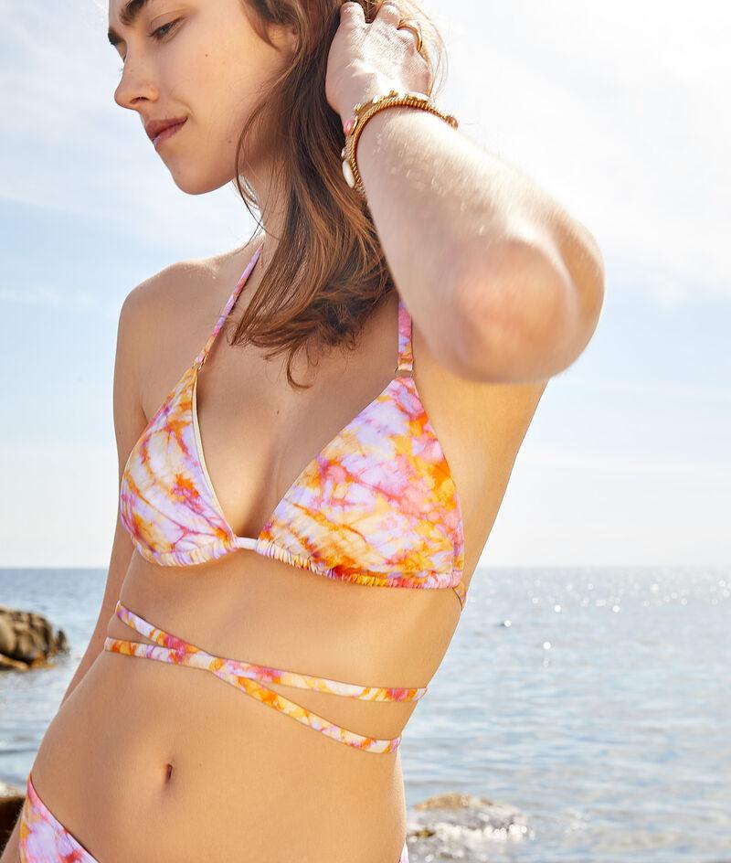 Sujetador bikini triángulo, estampado tie-dye;${refinementColor}