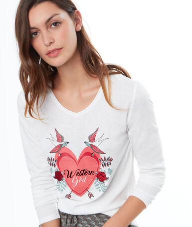 Camiseta dibujo western blanco.