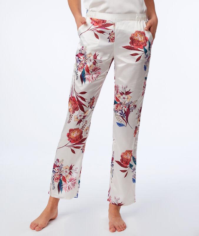 Pantalón satén estampado floral crudo.