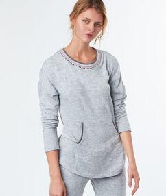 Camiseta tipo sudadera jaspeada c.gris.