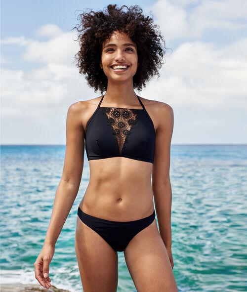 Top bikini con detalles de encaje