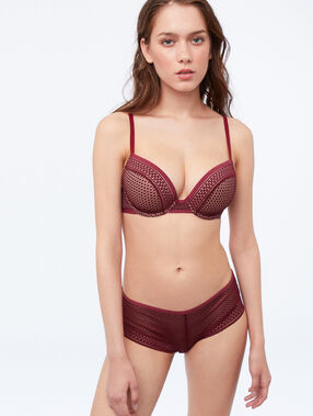 Shorty en microfibre bordeaux grenat.