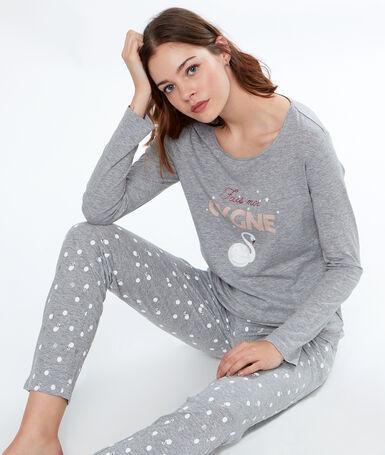 Pantalón estampado cisnes c.gris.