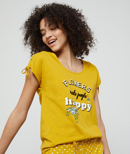 Camiseta de algodón eco 'Flowers maje people happy'