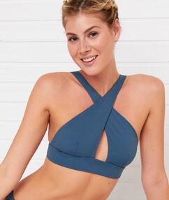 Sujetador bikini triangular azul.