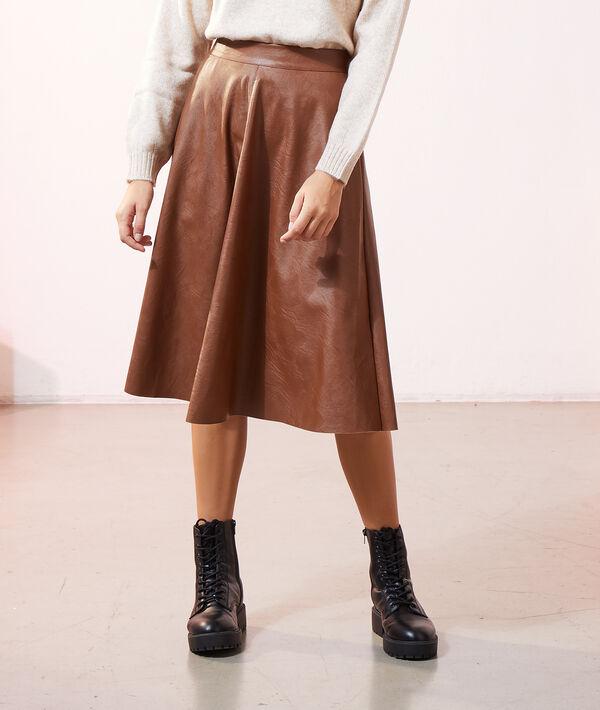 Falda midi efecto piel