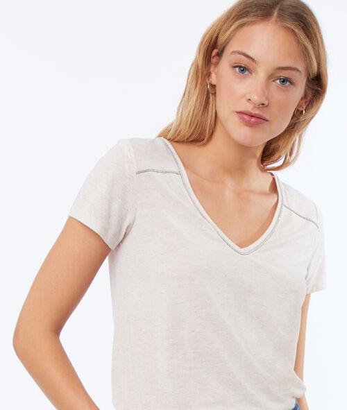 Camiseta escote en V fibras metalizadas