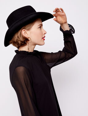 Sombrero 100% lana negro.