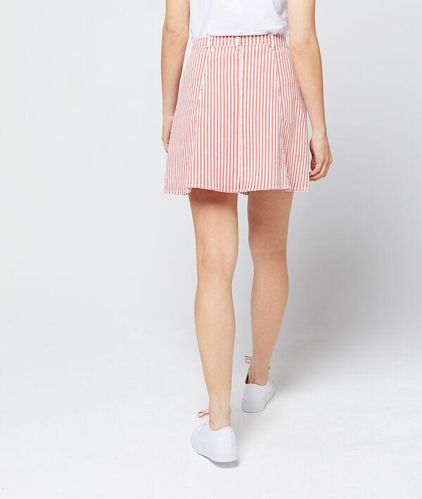 Falda abotonada a rayas de algodón