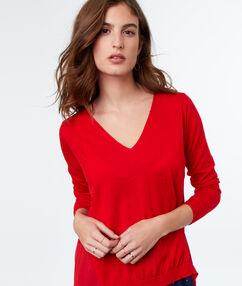 Jersey escote en v dos texturas rojo.