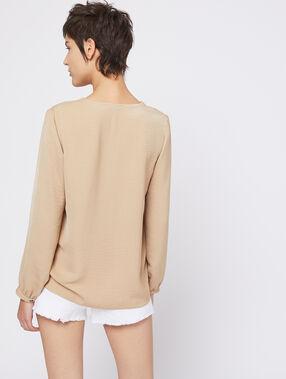 Blusa abotonada cuello en v c.camel.