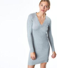 Vestido ajustado escote en v c.gris.