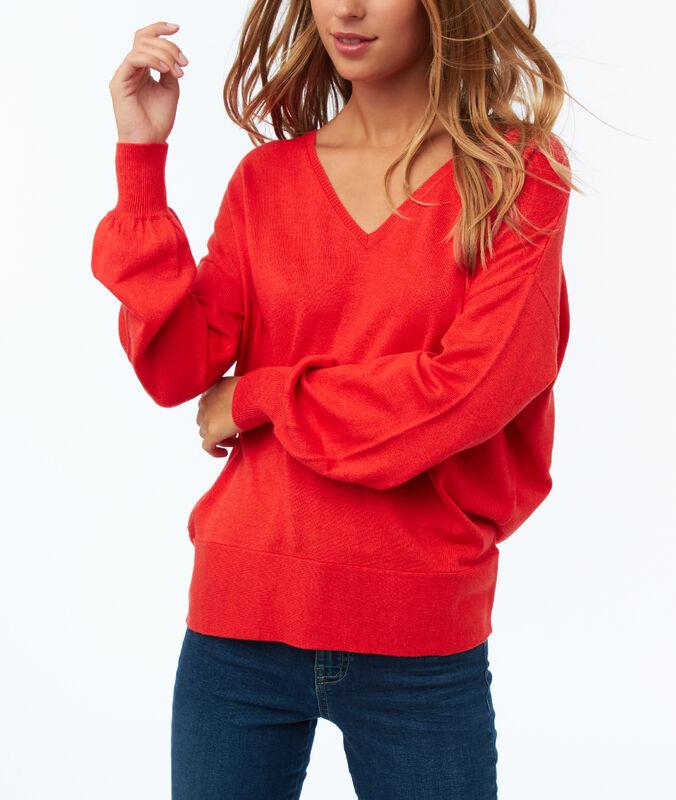 Jersey manga larga escote en v rojo.