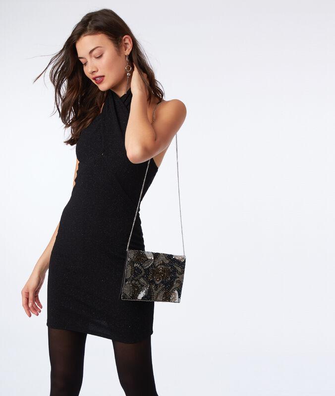 Vestido anudado al cuello fibras metalizadas negro.
