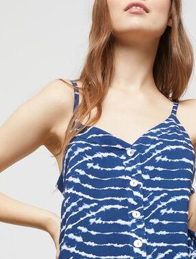Camisola con botones y estampado tie-dye azul marino.