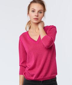 Jersey cuello en v rosa.