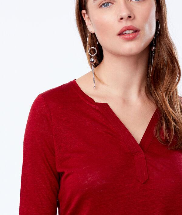 Camiseta cuello tunecino 100% lino
