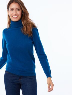 Jersey cuello alto 100% cachemir azul noche.