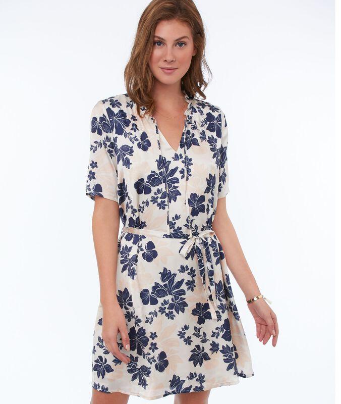 Vestido ceñido estampado floral c.nude.