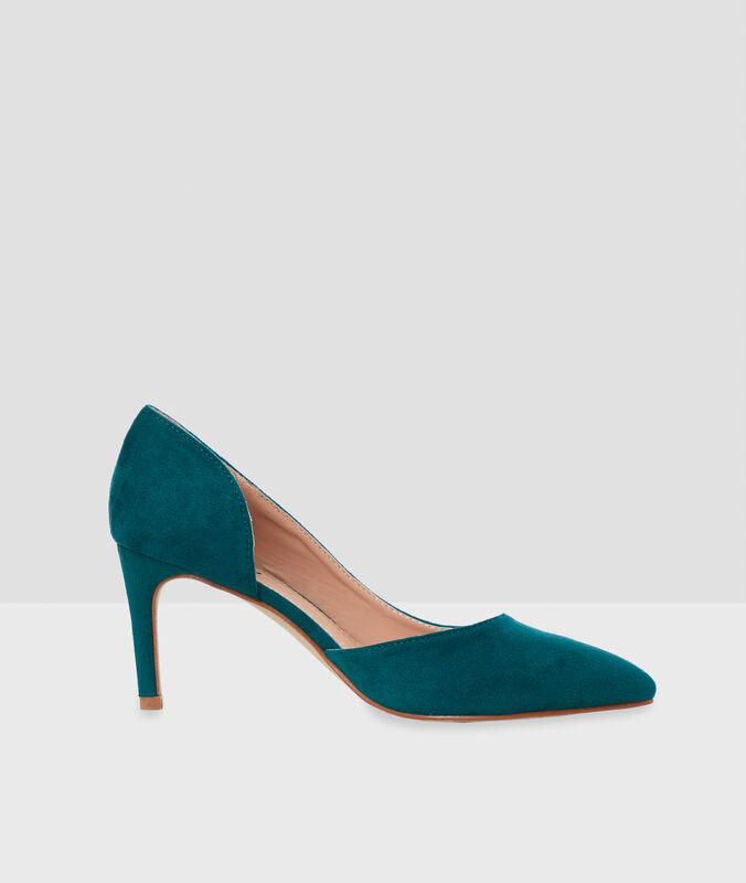 Zapatos de tacón turquesa.