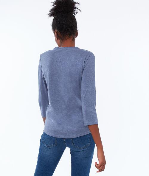 Camiseta manga 3/4 cuello tunecino