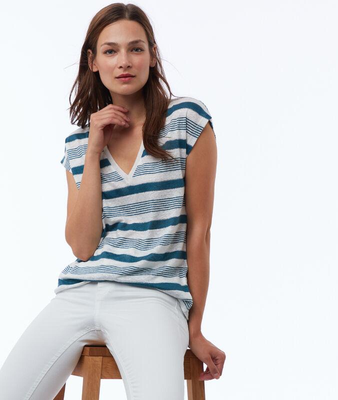Camiseta manga corta estampado rayas de lino turquesa.