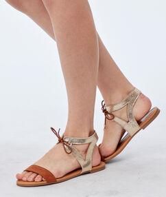 Sandales plates argenté.