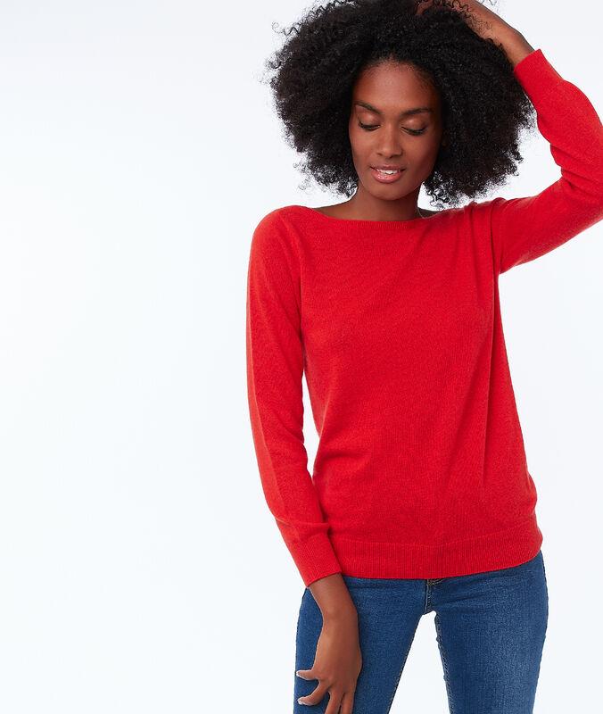 Jersey cuello barco 100% cachemir rojo.