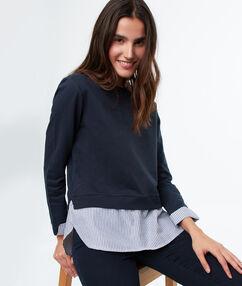 Jersey dos texturas algodón azul marino.